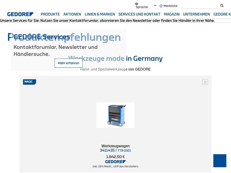 Screenshot von www.gedore.de